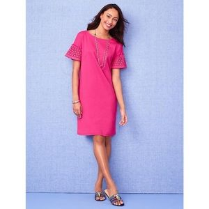 Talbots Pink Shift Dress with Eyelet Sleeves
